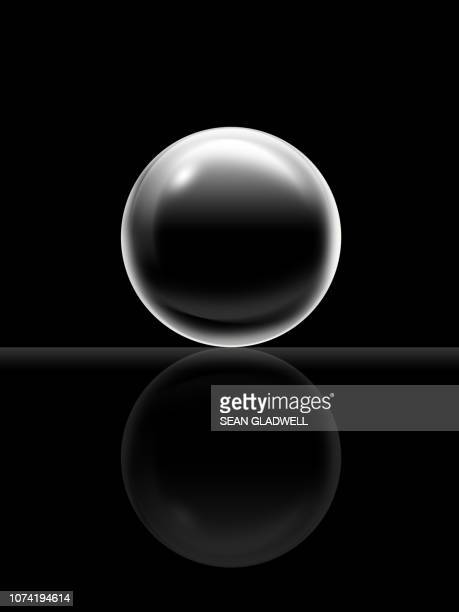 3d black ball illustration - vidro - fotografias e filmes do acervo