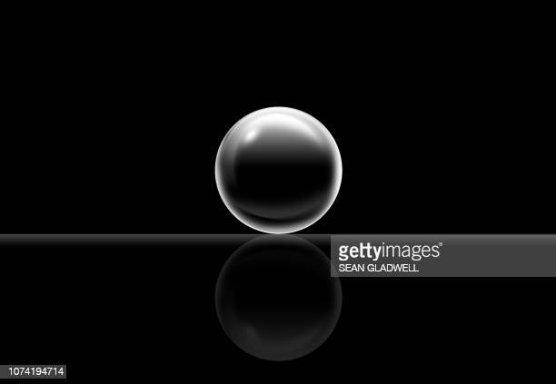 3d black ball - atom stock photos and pictures