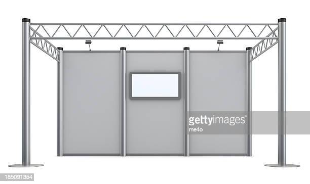 3d blank advertisement exhibition stand with video wall - kiosk stock pictures, royalty-free photos & images