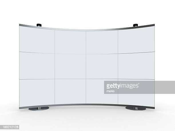 3d blank advertisement stand on white background