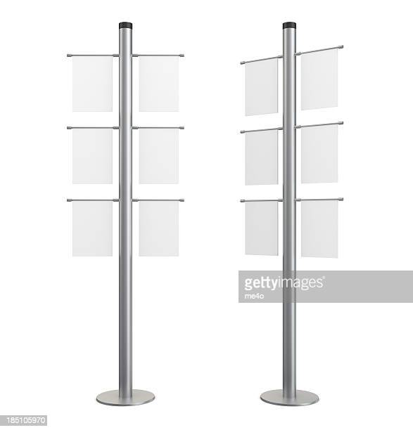 3d blank indication information stand with banners - bulletin board flyer stock pictures, royalty-free photos & images
