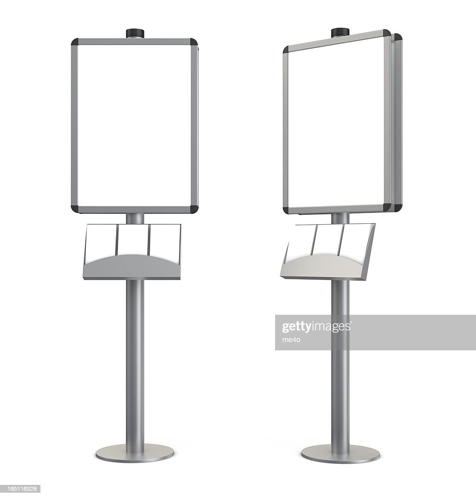 3d blank indication information stand with brochures : Stock Photo