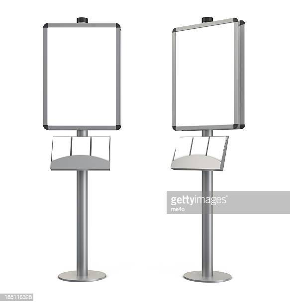 3d blank indication information stand with brochures - flyer leaflet stock photos and pictures