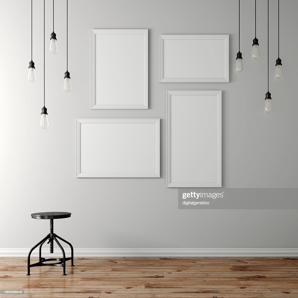 3d blank poster and light bulbs : Stock Photo