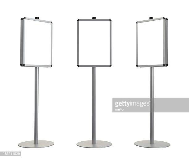 3d blank standing advertising digital poster - kiosk stock pictures, royalty-free photos & images