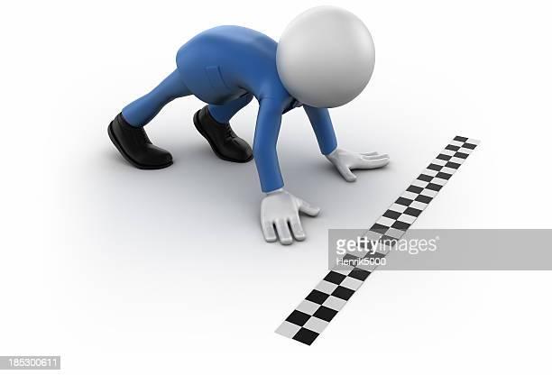 3 d Geschäftsmann bereit für ein Rennen-isoliert/clipping path