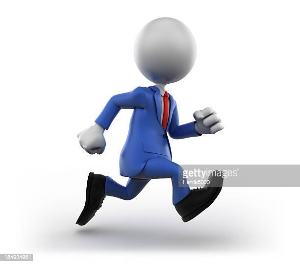 3d Businessman running, isolated on white