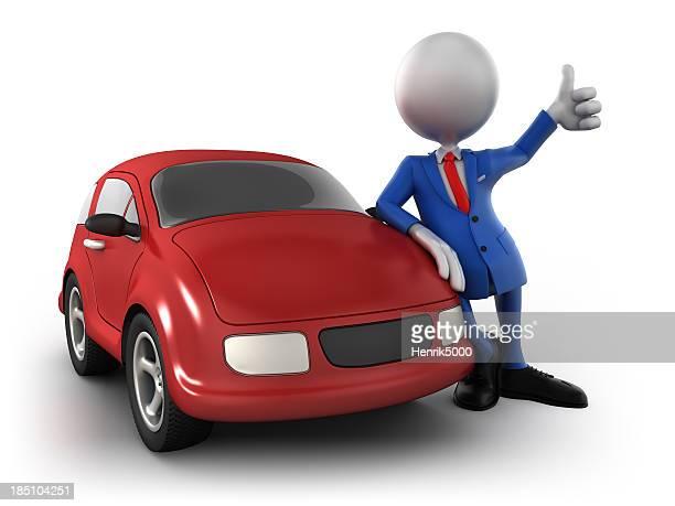 3 d hombre de negocios con coche aislada w. clipping path (Borde de corte