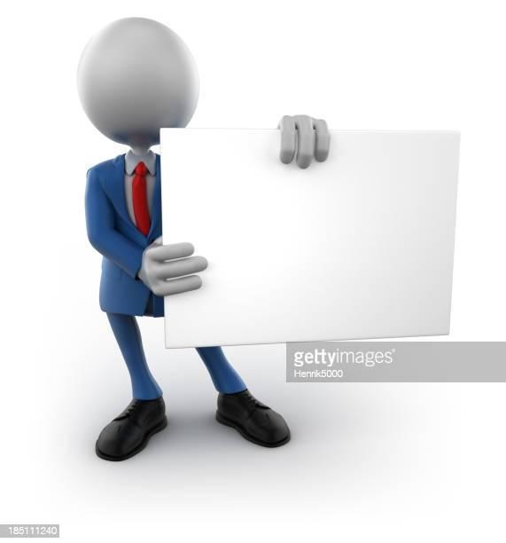 3 d Homme d'affaires avec un signe vide, isolé/Tracé de détourage