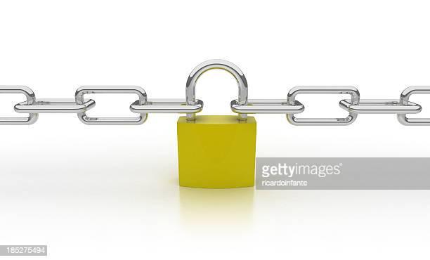 3d Chain Concept - Padlock