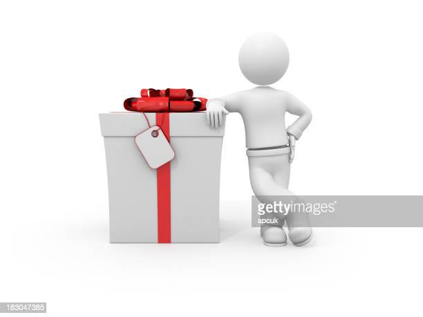 3d character leaning on gift box.