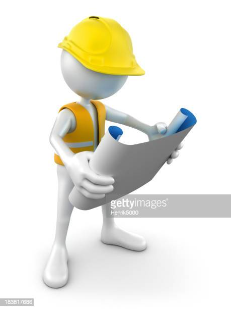 3d Construction worker reading plans, isolated w. clipping path