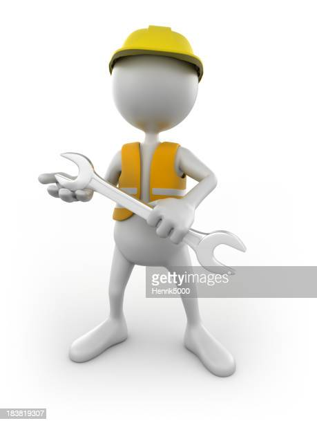 3d Construction worker with spanner, isolated w. clipping path