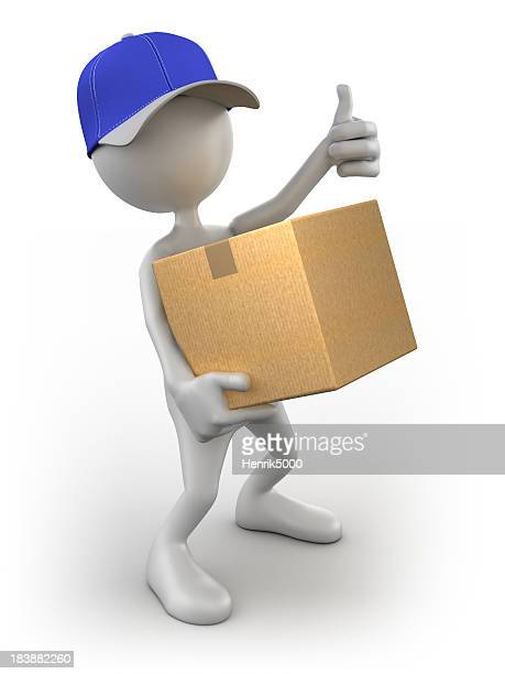 3d Delivery Man with cardboard box, isolated / clipping path
