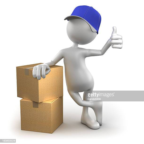 3d Delivery Man with cardboard boxes, isolated / clipping path