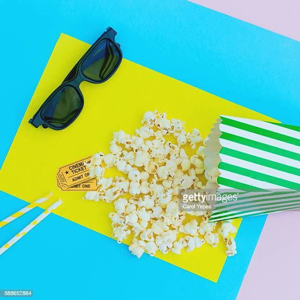 3d glasses, Movie tickets with pop corn