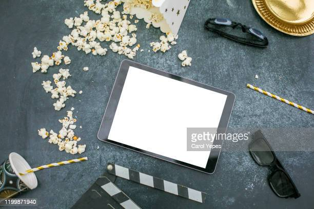 3d glasses, movie tickets with pop corn with templte - film festival stock pictures, royalty-free photos & images