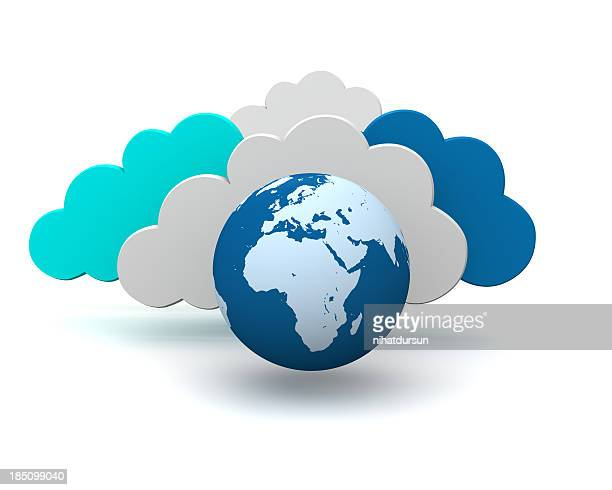 3d graphic symbol of global cloud technology