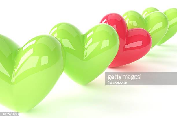 3d green with red one hearts array for st. valentine - gift icon stock photos and pictures