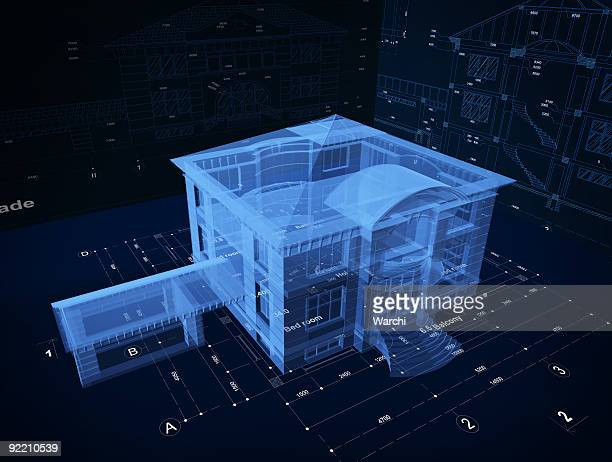 3d hologram of a luxury  home over blueprints - hologram stock pictures, royalty-free photos & images