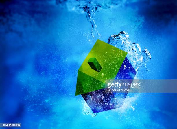 3d house sinking underwater - housing difficulties stock pictures, royalty-free photos & images