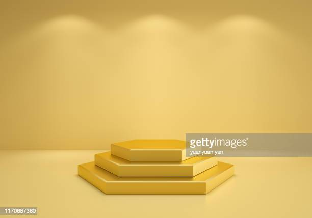 3d illustration empty exhibition room - winners podium stock pictures, royalty-free photos & images