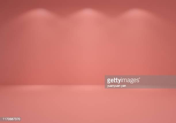 3d illustration empty exhibition room - ピンク色 ストックフォトと画像