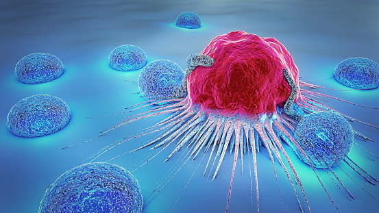 3d illustration of a cancer cell and lymphocytes 888730408