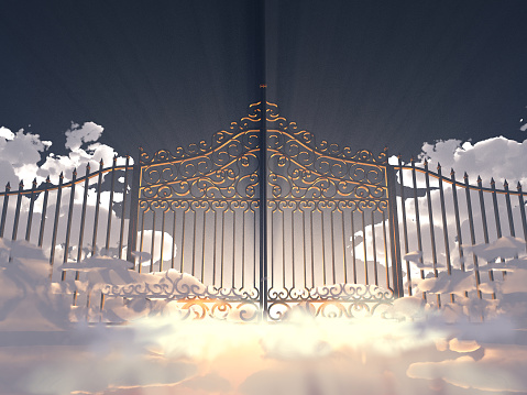 3d illustration of a gate in the sky 1065506912