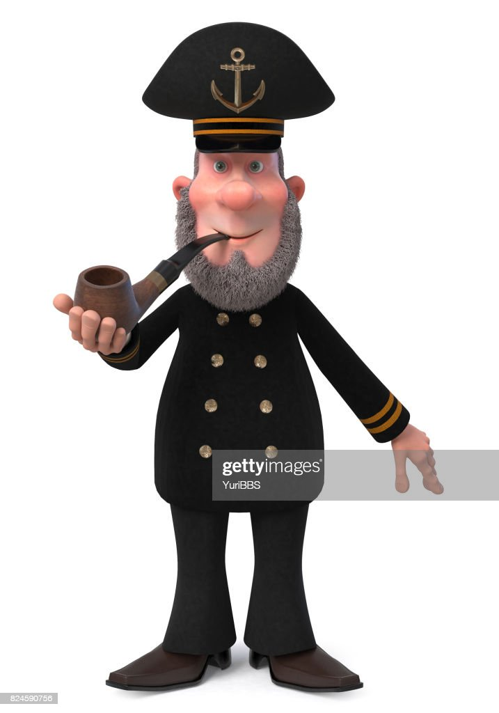 3d Illustration Sea Captain With Smoking Pipe Stock Photo