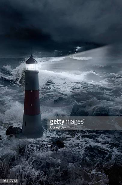 3d lighthouse with stormy seas and boat - coneyl stock pictures, royalty-free photos & images