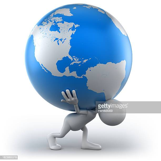 3d Man carrying Earth, isolated with clipping path