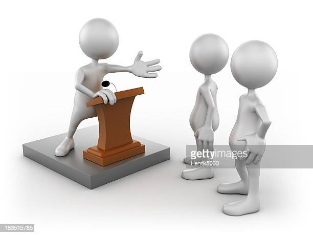 3d Man giving speech to group, isolated/clipping path