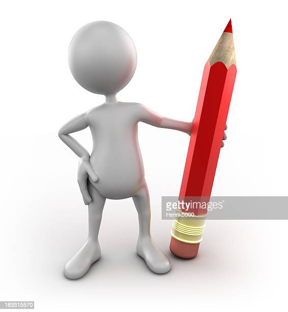 3 d homme tenant gros crayon isolé avec un Tracé de détourage