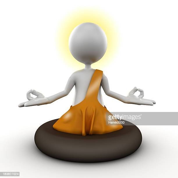 3d Man meditating, isolated with clipping path