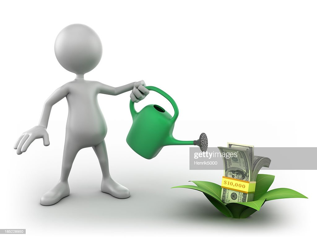 3d Man watering growing dollar bills, isolated with clipping path : Stock Photo
