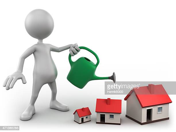 3d Man watering homes, isolated with clipping path