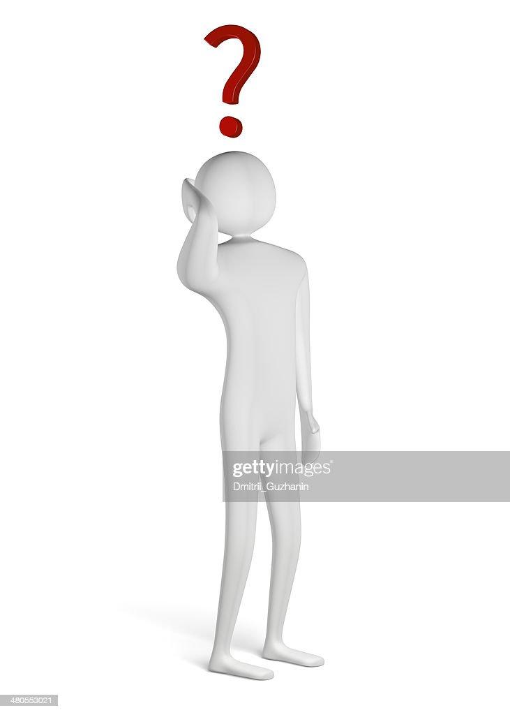 3 d homem com ponto de interrogação acima da cabeça : Foto de stock