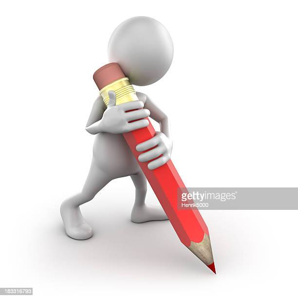 3 d Homme écrit avec un gros crayon isolé/Tracé de détourage
