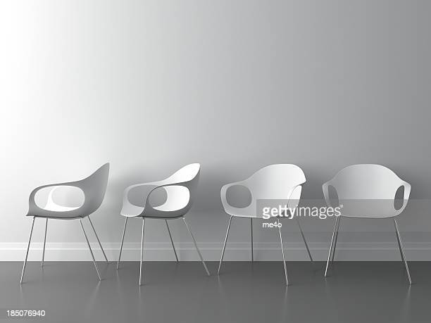 3d modern chair on white wall - chair stock pictures, royalty-free photos & images