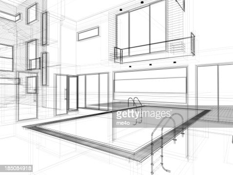 3d Modern Interior With Swimming Pool In Wire Frame Layout