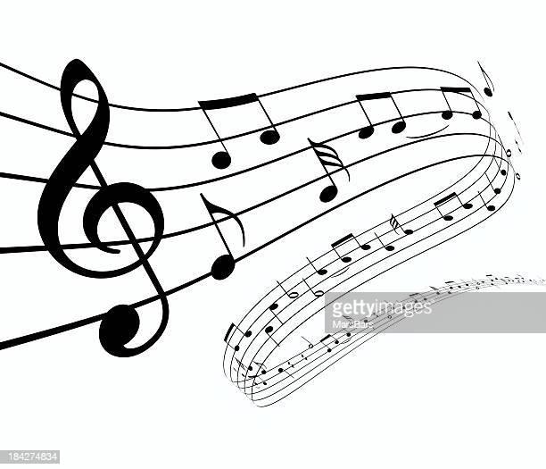 3 d notas de la música bailando de distancia - clave de sol fotografías e imágenes de stock