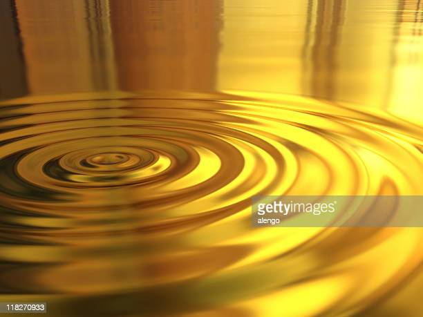 3d Picture of a golden water ripple effect