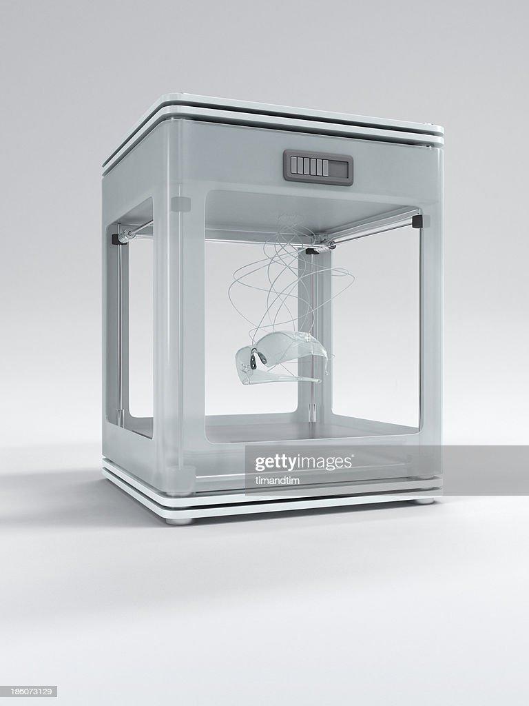 3d printer printing glasses : Stock Photo