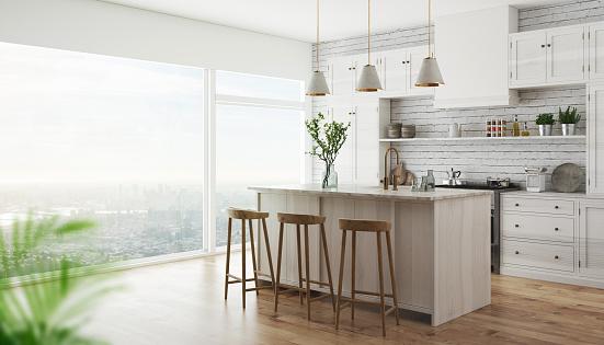 3d realistic modern kitchen 955980424