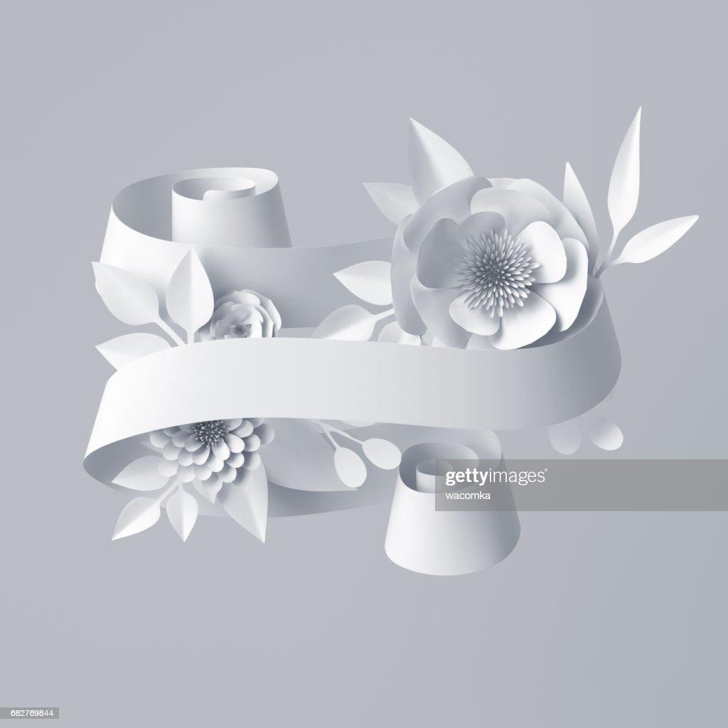 3d Render Abstrakte Lockiges Band Papierblumen Festliche Blumenkarte ...