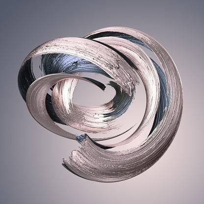 3d render, abstract metallic brushstroke, silver paint smear, splashing platinum shape, rose gold, shiny foil, ribbon, isolated clip art 1031994304