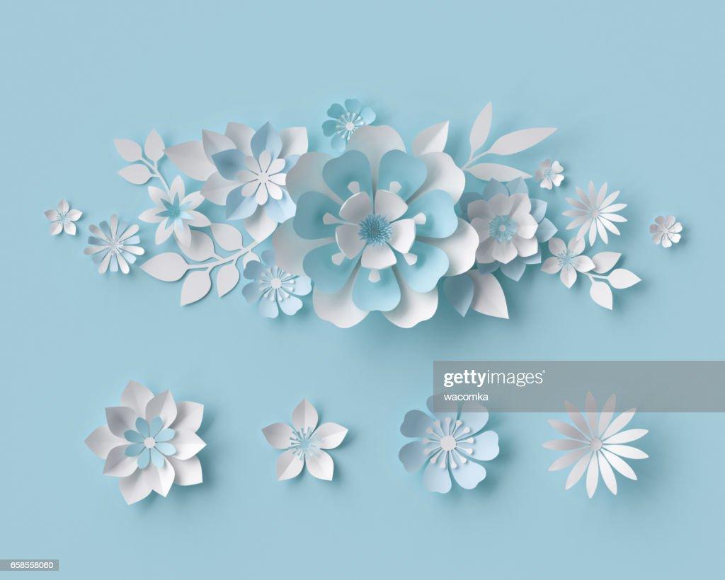 3d Render Abstrakte Weissbuch Blumen Brautstrauss Pastell Blumenkarte