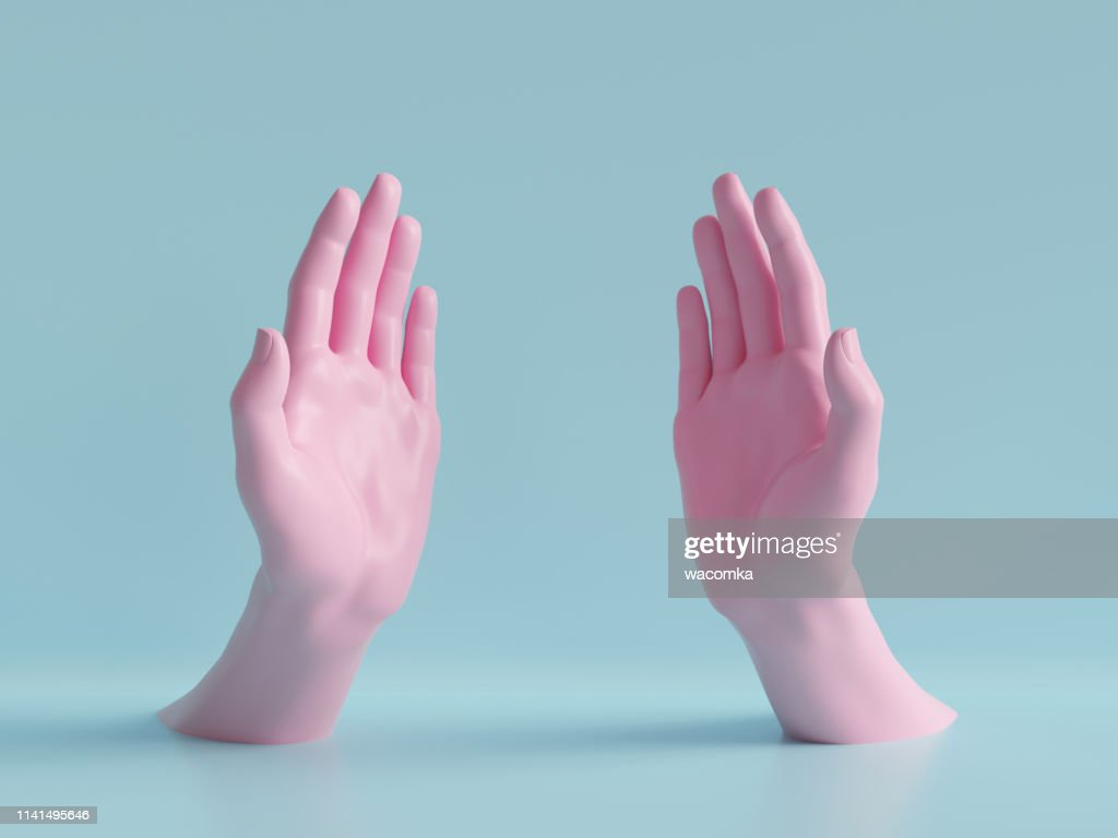 3d render, beautiful hands isolated, female mannequin body parts, minimal fashion background, helping hands, blessing, partnership concept, pink blue pastel colors : Stock Photo