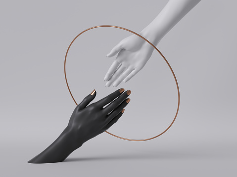 3d render, black white female hands isolated, minimal fashion background, helping hands inside round frame, golden ring, mannequin body parts, feminist, partnership concept, clean minimal design 1166252305